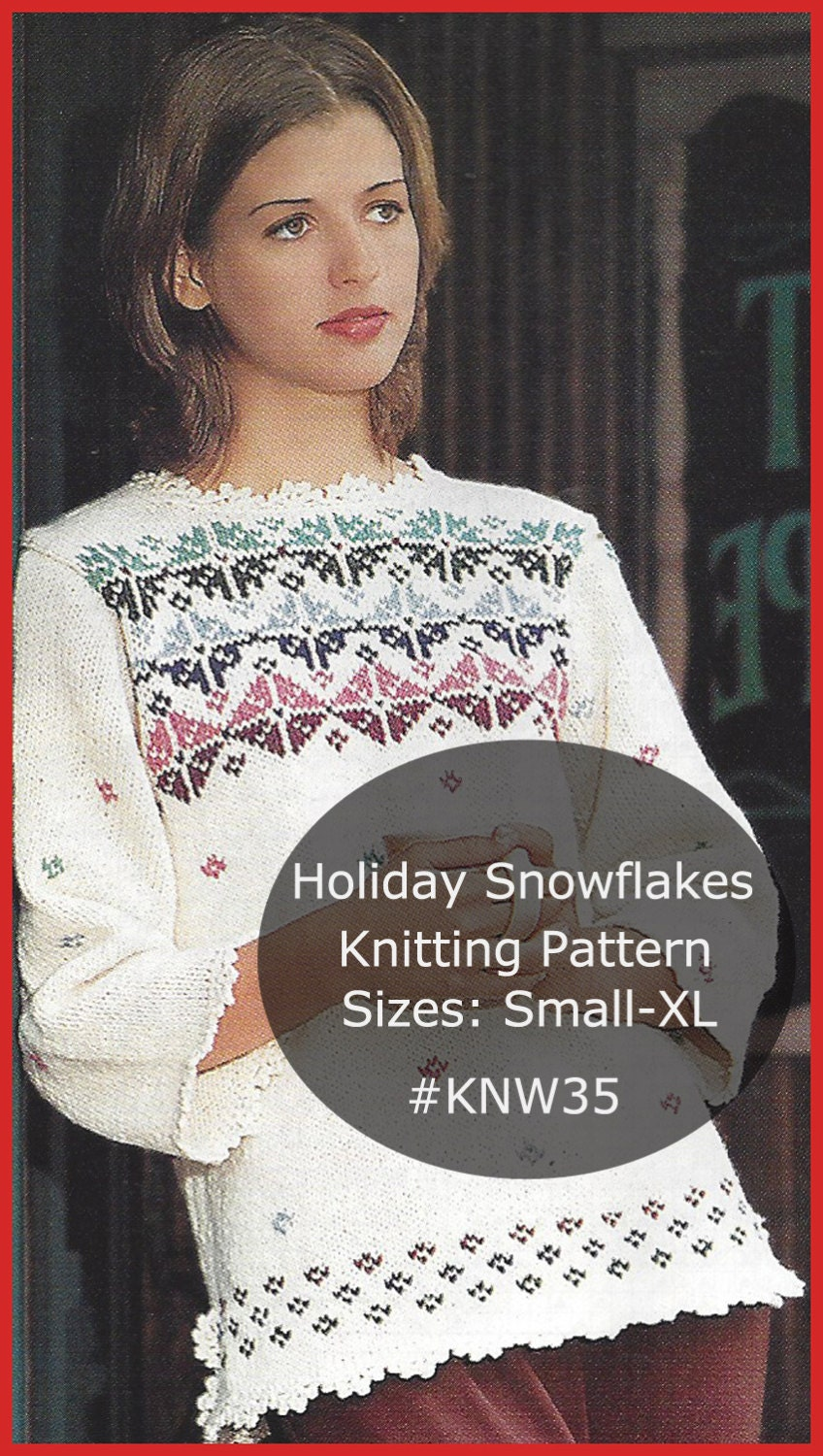 Knitting Pattern Christmas Cardigan : Christmas Snowflakes Sweater Knitting Pattern Snowflakes Tunic