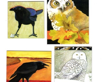 Owl and Raven Magnet Art, Set of 4