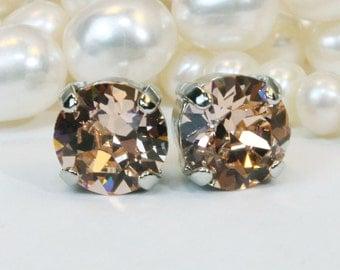 Peach Crystal Studs, light peach Swarovski Studs 8mm Single stone,Light Peach wedding Peach Bridesmaids post earrings,Light Peach,Silver,SE1