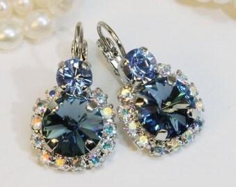 Navy Blue Swarovski Earrings Bridal Crystal AB Drop Denim Blue Something Blue Halo,Navy Wedding Swarovski Silver Finish,Denim Blue,SE102