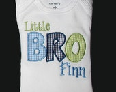 Custom Personalized Applique Big, Middle, or Little BROTHER and NAME Bodysuit or Shirt - Lt Blue, Navy, and Lime Green Mini Gingham