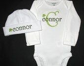 Lt Lime Green and Olive Green or Brown - Custom Personalized St Patrick's Day Shamrock BODYSUIT and INFANT HAT Set - Or Choose Your Set