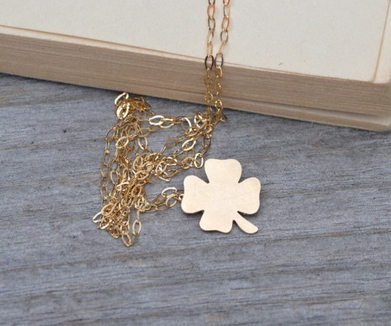 Lucky Shamrock In 9ct Yellow Gold, Lucky Necklace Handmade In The UK