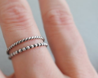 Oxidized Sterling Silver Rings Stack Rings 2 thin stackable rings silver jewellery