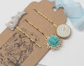 WONDERLAND . Shabby Chic Gold Alice in wonderland Hair Bobby Pins Bookmark FREE SHIP