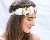 Boho Flower Crown in Pink and Ivory with Vintage Lace Wedding Flower Halo Bohemian Bridesmaid or Flower Girl Headpiece Elastic Floral Wreath