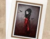 Blank Greeting Card & Envelope  - Vampire And Bloody Skull  - Sorry