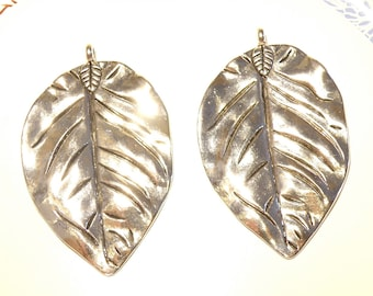 One (1) Huge Pewter Silver Leaf Pendant