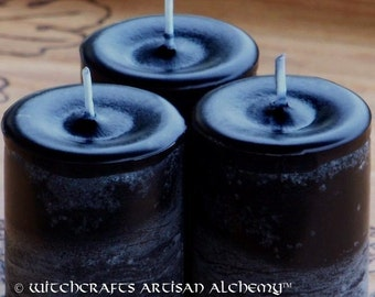 "SEANCE ""Old European Witchcraft""™ Black Pillar Votive Candles"