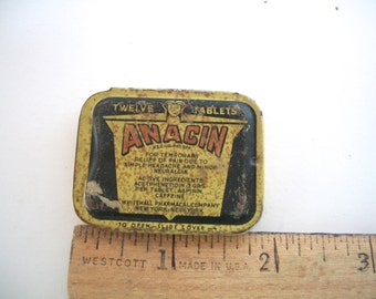 Vintage Anacin Aspirin Tin Rusty Distressed Has Wear 1930s  Measures 1  &  7/8  inches  X  1 And  3/8   X 1/4 Inches