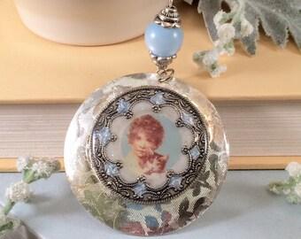 Girl and Kitten Blue Silver Pendant