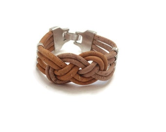 Cork bracelet with 4 strand of 3mm natural and yellow cork
