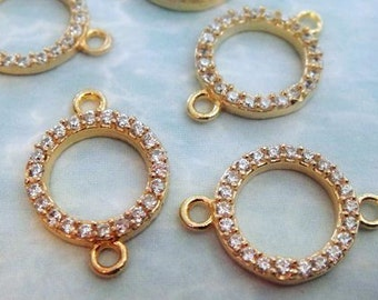 12mm Round Pave Cubic Zirconia Connector, CZ 24k Gold Plated Link, High Quality,  (17x12mm excluding loops)