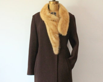 1960s Cacao Wool Coat with Fur collar