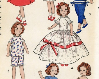 Doll Clothes PATTERN 8799 for 8 inch Alexander Kins Ginny Muffie Vogue Mingerie Lou Daily Dolly Gigi Mary Lou Dress pleated skirt Coat hat