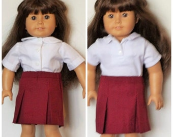 Maroon uniform skirt with polo shirt or collared shirt fits 18' dolls like American Girl