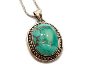 Turquoise Pendant, Sterling Silver, Turquoise Necklace, Vintage Jewelry, Copper Matrix, Big Statement, Boho Bohemian, Ethnic Tribal, Oval