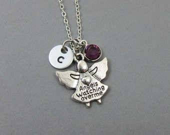 Guardian Angel Necklace - Personalized protection necklace, Customized birthstone, handstamped intial