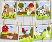 Set of 6 Farm Animal Baby Nursery Childrens Bedroom Wall 8x10 ART PRINTS