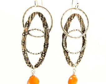 Chandelier earrings with sterling silver and Carnelian stones