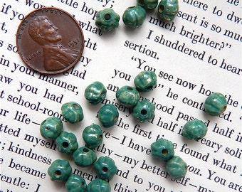 Green Patina Beads, Melon Beads, Fluted Green Beads, Large Holes 3mm, 20 pieces, Quantity Saving