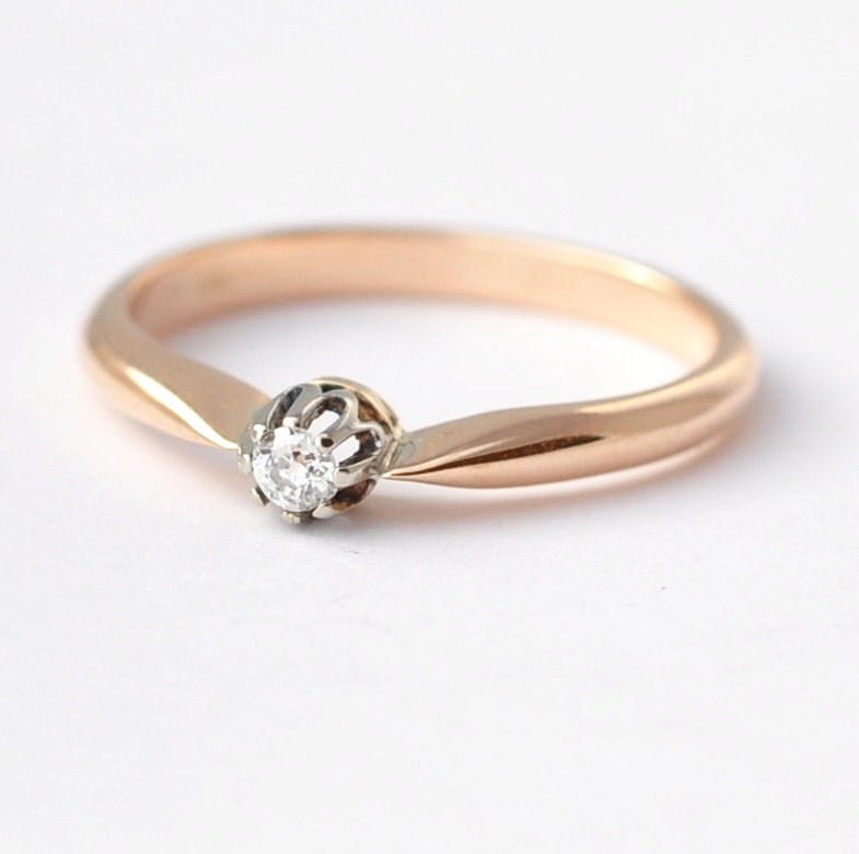 Rose Gold Engagement Ring: Vintage Diamond Size 7.25/7.5