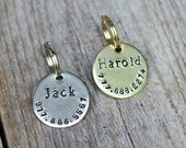 Small personalized cat or dog ID tag - Handstamped round 3/4""