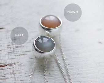 Peach or Grey/Gray colored Moonstone solid silver round ball necklace