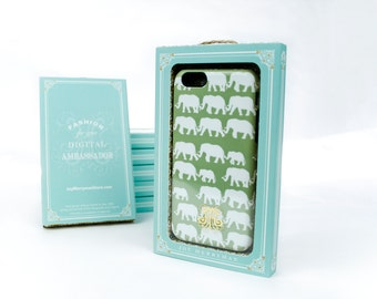 iPhone 6 Case Elephants on Parade iPhone 5S Case, Green and White Elephant Phone Cover, iPhone 5C Case iPhone 6 Plus Case