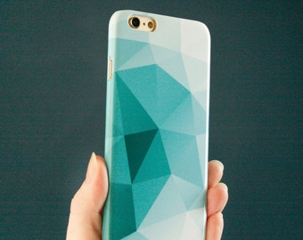 Geometric iPhone 6S Case, Teal Modern iPhone SE Case, Abstract iPhone 6 Case, iPhone 7 Plus Triangles