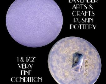 Button ~ Large Gorgeous Lavender Glazed Arts & Crafts Ruskin