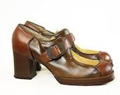 Vintage Sbicca Multi Leather Platform Oxford Shoes Sz 8 Chunky Heel