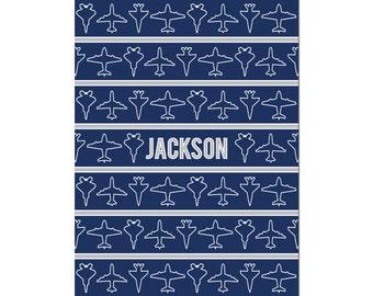 Personalized Airplane Blanket Name Blanket Monogrammed Blanket Airplane Blanket Custom Baby Blanket Airplane Custom Blanket Baby Boy Blanket