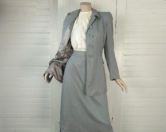 40s Suit in Dove Gray- 1940s Twill Skirt & Jacket- Dress- WWII