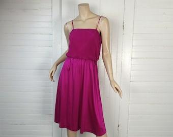Magenta Disco Dress- 1970s / 70s- Hot Pink / Purple- Spaghetti Straps- Studio 54