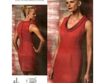 Scoop Neck Fitted Dress Pattern Vogue 1151 Sleeveless Designer Cynthia Steffe Size 6 8 10 12