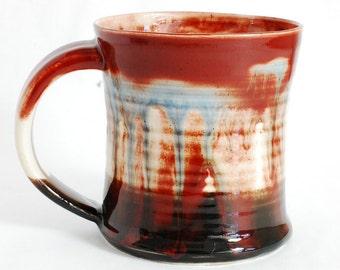 16 oz Mug Black Red and White Porcelain Ceramic Mug Large