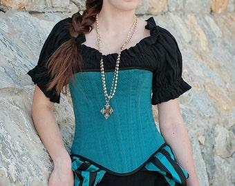 Black Short Sleeve Chemise, Steampunk, Victorian, Renaissance, Medieval, Western, Dustpunk, Peasant Blouse, Pirate, Fairy, Shirt