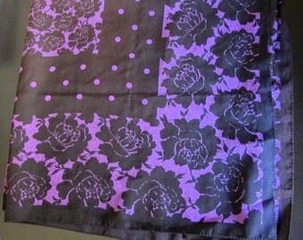 Black and Purple Scarf with Roses