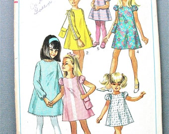 Simplicity 7454 1960s Child's and Girls' Dress and Bag Vintage Sewing Pattern