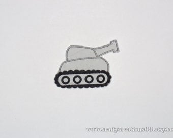 "Embroidered Iron On Applique  ""Tank"""