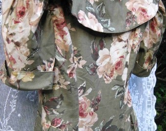size 4 small Autumn ROSES on COTTON dress, portrait collar dress, vintage 1980s 80s dress, floral roses