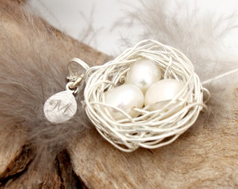 Personalized bird nest necklace with three genuine pearl eggs and initial charm- silver plated woven wire- Sterling chain- June birthstone