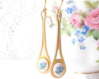 Vintage Limoges Blue Rose Earrings - Long Dangle Earrings - Something Blue - Flower Cameo Earrings - Garden Wedding - Long Brass Earrings