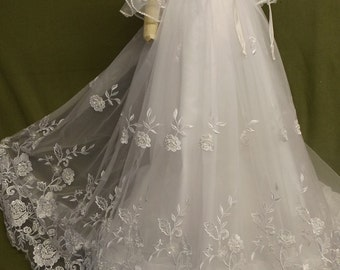 """Angela West """"Lauren Rose"""" lace christening gown with accessories and monogram"""