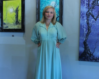 Vintage Mint Green Dress - 1930s Inspired Day Dress. 1980s Vintage