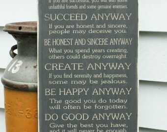Mother Teresa Do It Anyway - 12x30 Carved Engraved Shabby Chic Catholic Handpainted Rustic Wooden Sign