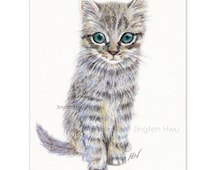 """art print of Original cat drawing """"A Grey Kitten """" grey striped cat, lover's gift,  watercolor pencil drawing, desk decoration"""
