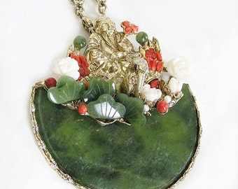 Swoboda Large Pendant Medallion Necklace with Buddha, Jade Coral and Pearls
