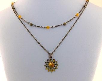Rustic Enameled Flower Necklace - Orange Necklace - Double Necklace - Brass Necklace - Antique Brass Necklace -Boho Necklace -Daisy - N044